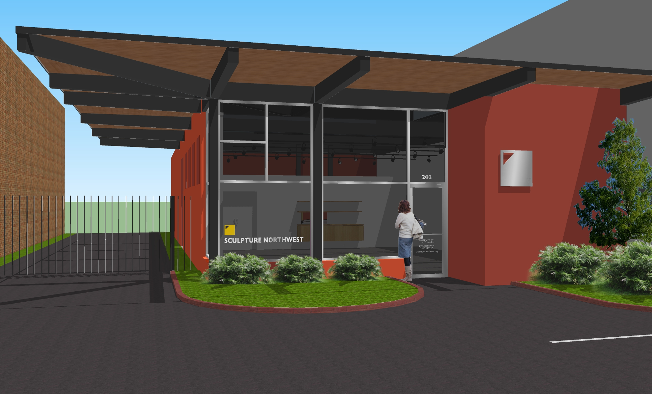 Artists rendering of newly rebuilt front of the gallery