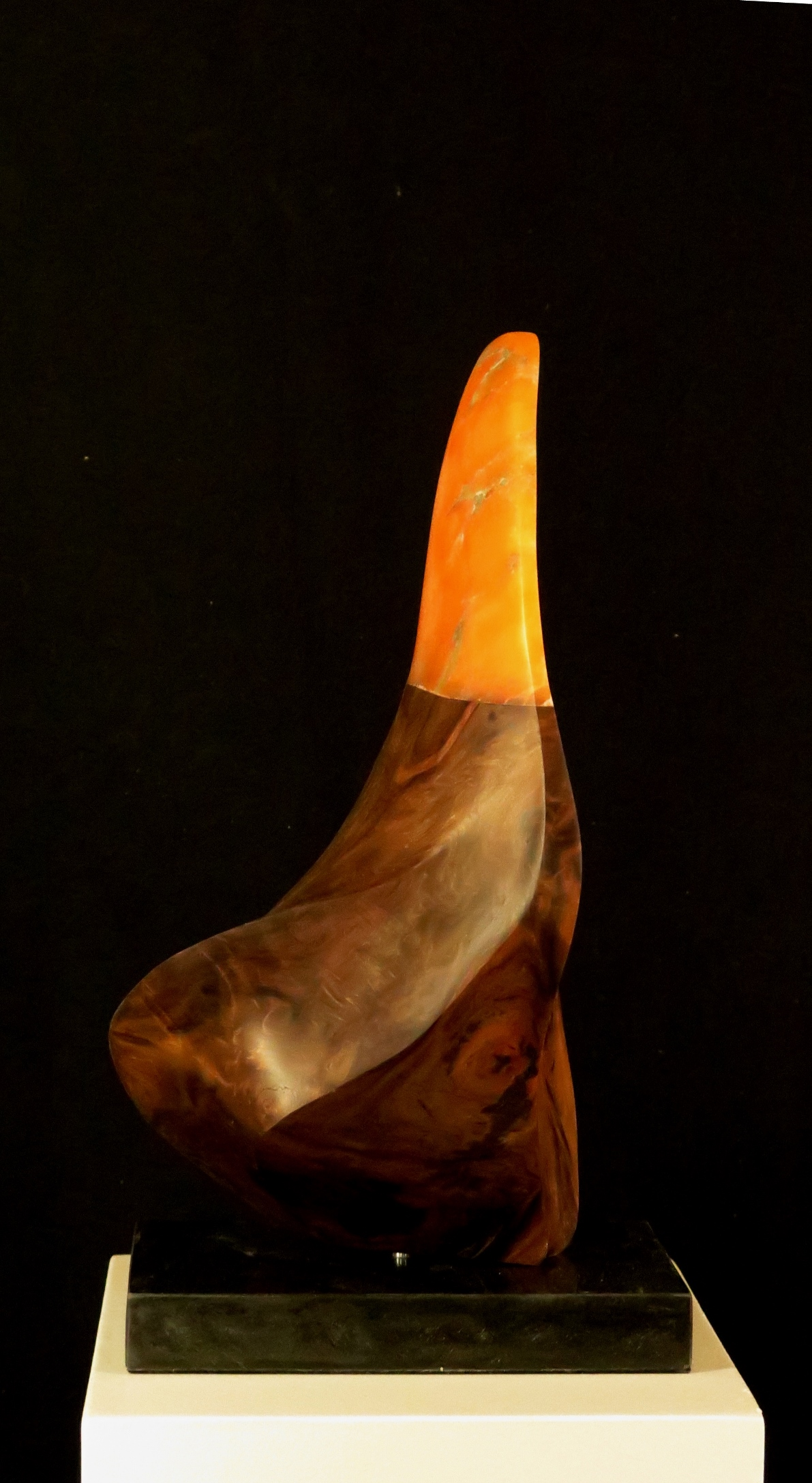 """Autumn Blaze"" Alabaster Redwood on marble, Randal Leek"