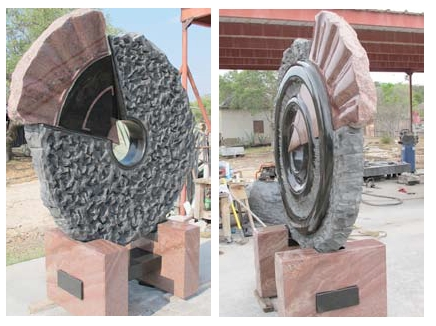 """Synergy"" African Black Granite & Texas Red Granite, 8' x 6' x8"""