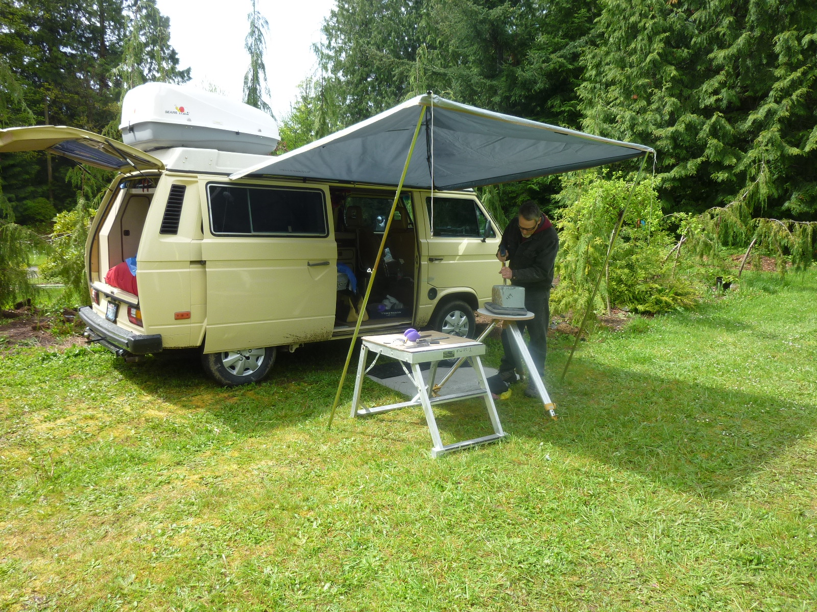 Paul Sizer spent a year touring the US in this Vanagon before bringing it to the workshop as his pop-up tent.