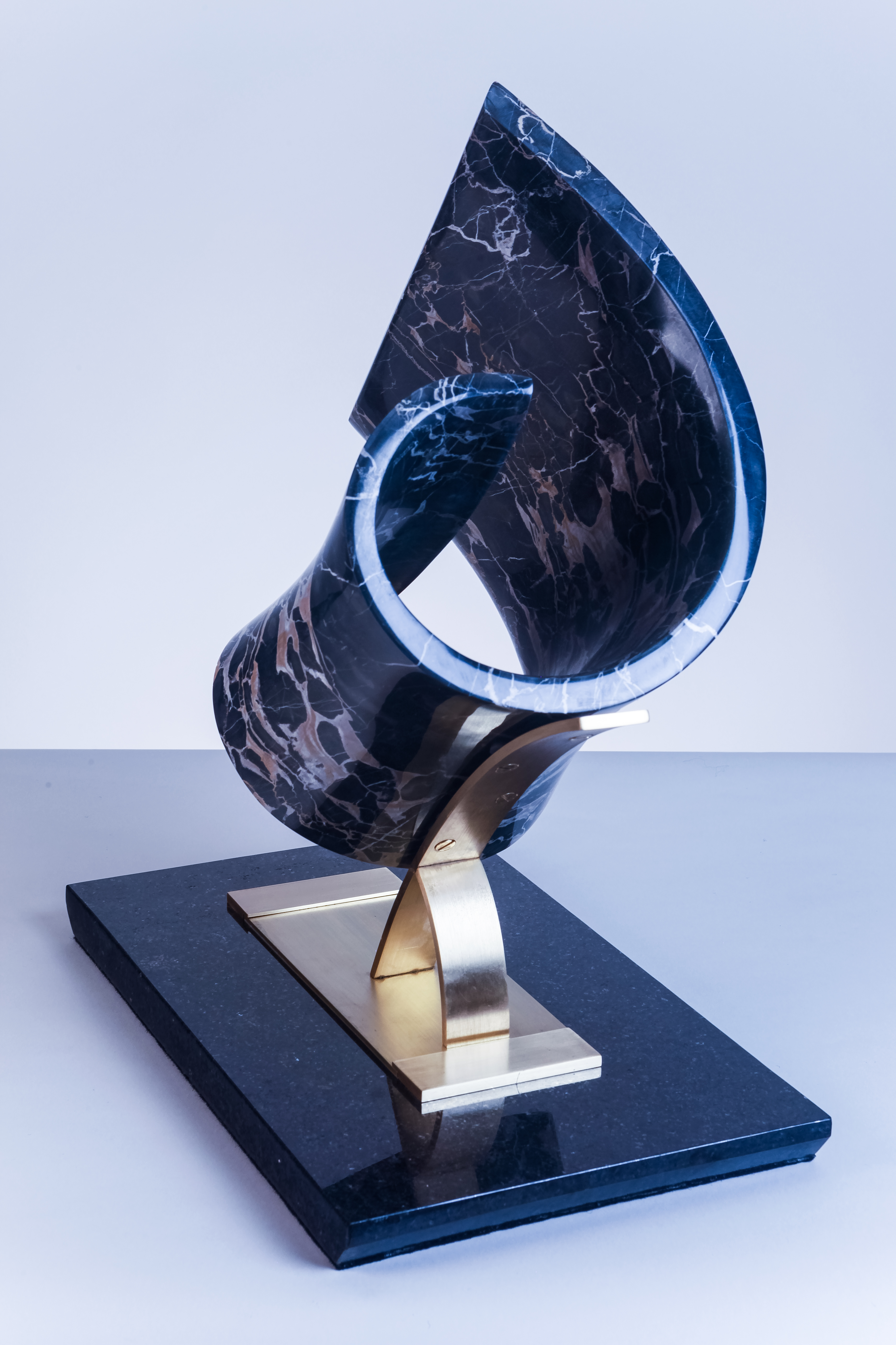 Curve In Time, Al Sieradski Italian Portoro Marble with Brass and granite Base