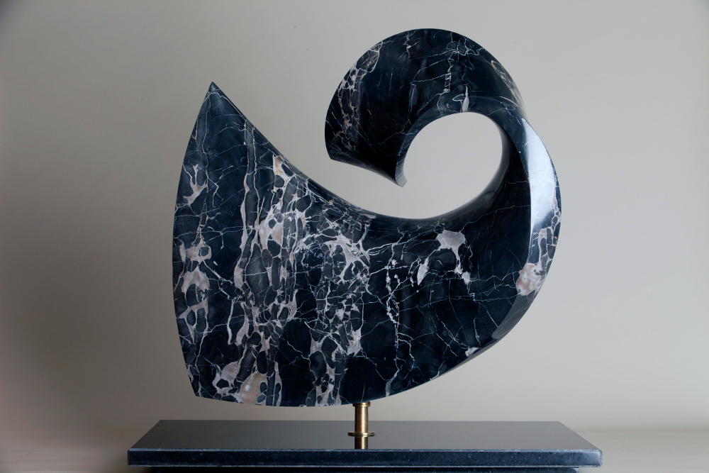 "LYRIC, 24"" X 24"" X 6"", Italian Portoro marble with black granite base"