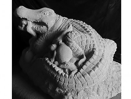 """Crocodile Family"" Bath Stone by Pippa Unwin"