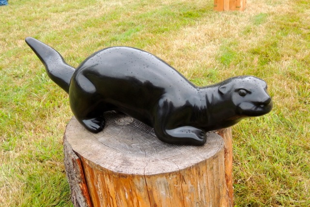 """River Otter"", 42"" long X 12"" high X 12"" wide, columnar basalt"