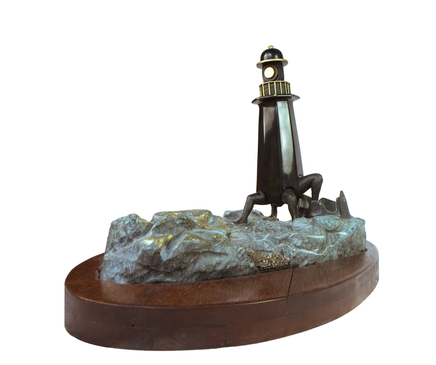 At last, the lighthouse painted with bronze river and wooden base