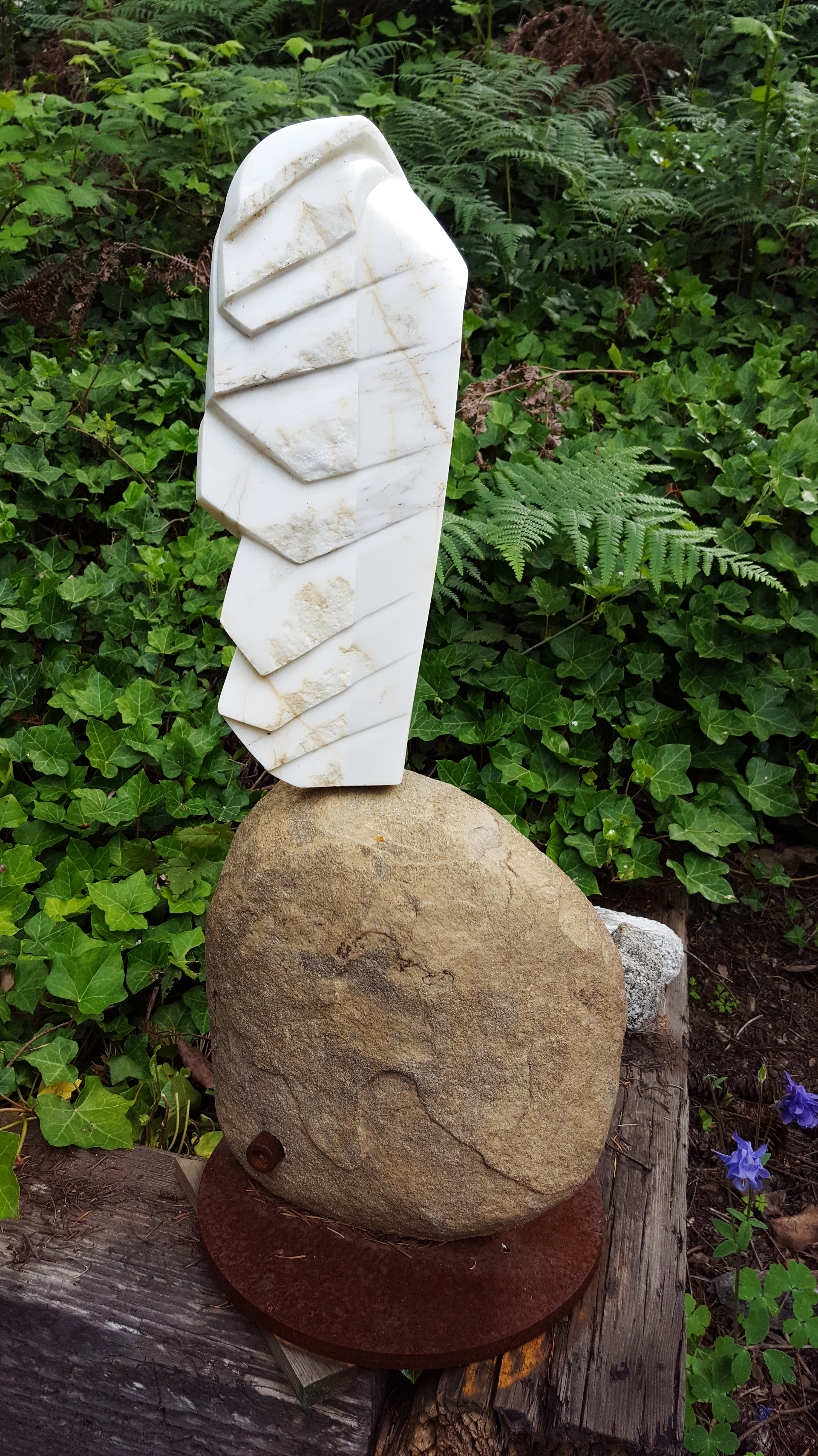 """Feather"", 29"" X 12"" X 6"", marble, stone, steel, 2015"