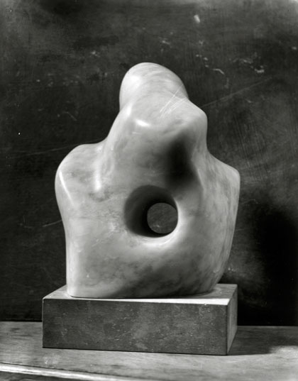 """Pierced Form"" of pink alabaster from 1932, thought to be one of her first iconic hole sculptures."