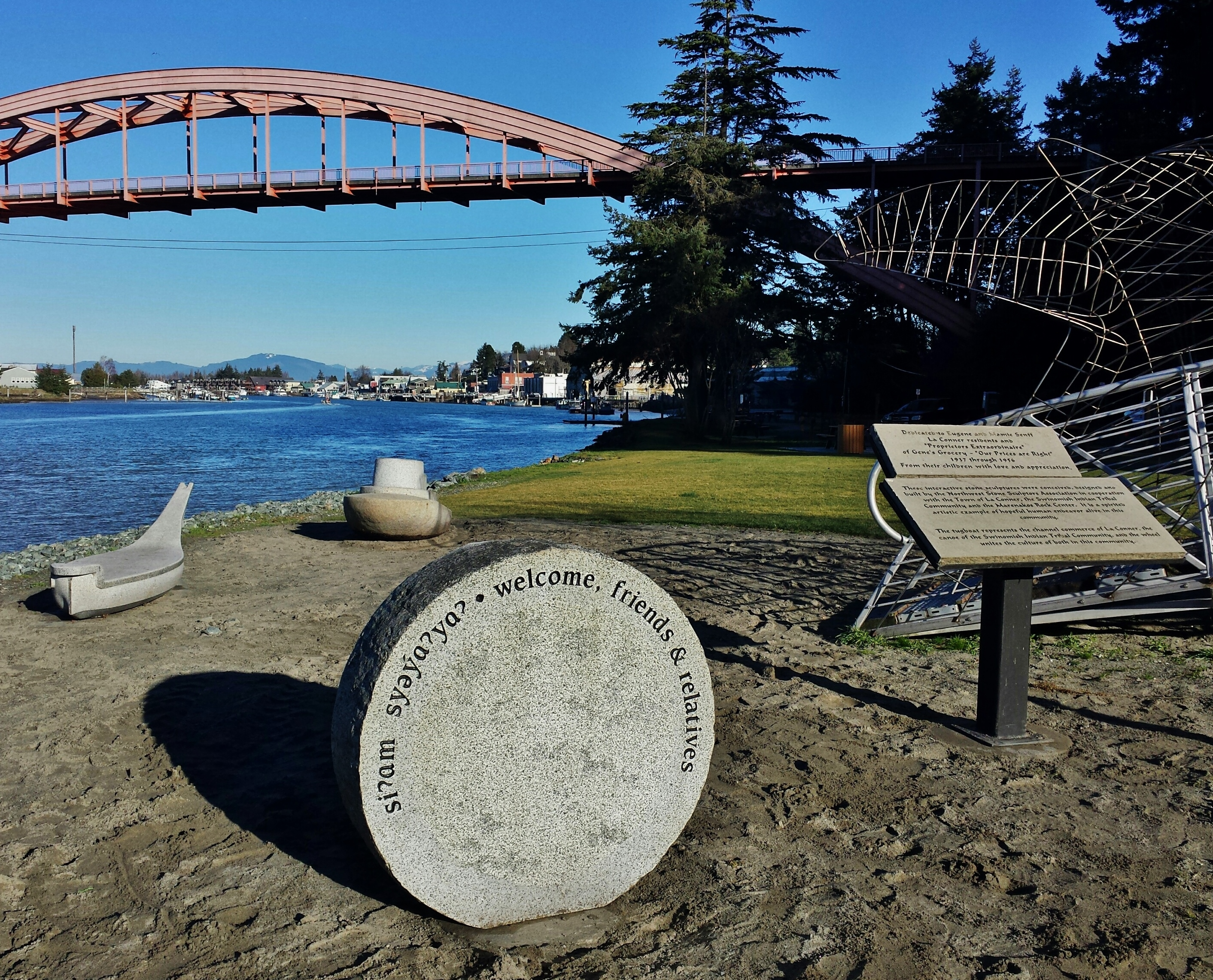 """Crossing Point"" in its new location in Conner Waterfront Park on the Swinomish Channel."