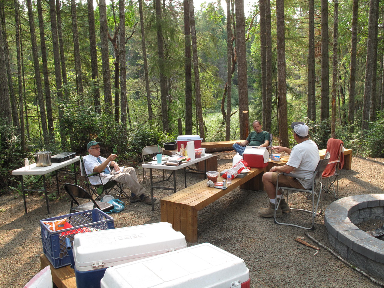 Potluck dinner on August 2, 2017, after a long hot day. Then it was time to hit the sleeping bags.