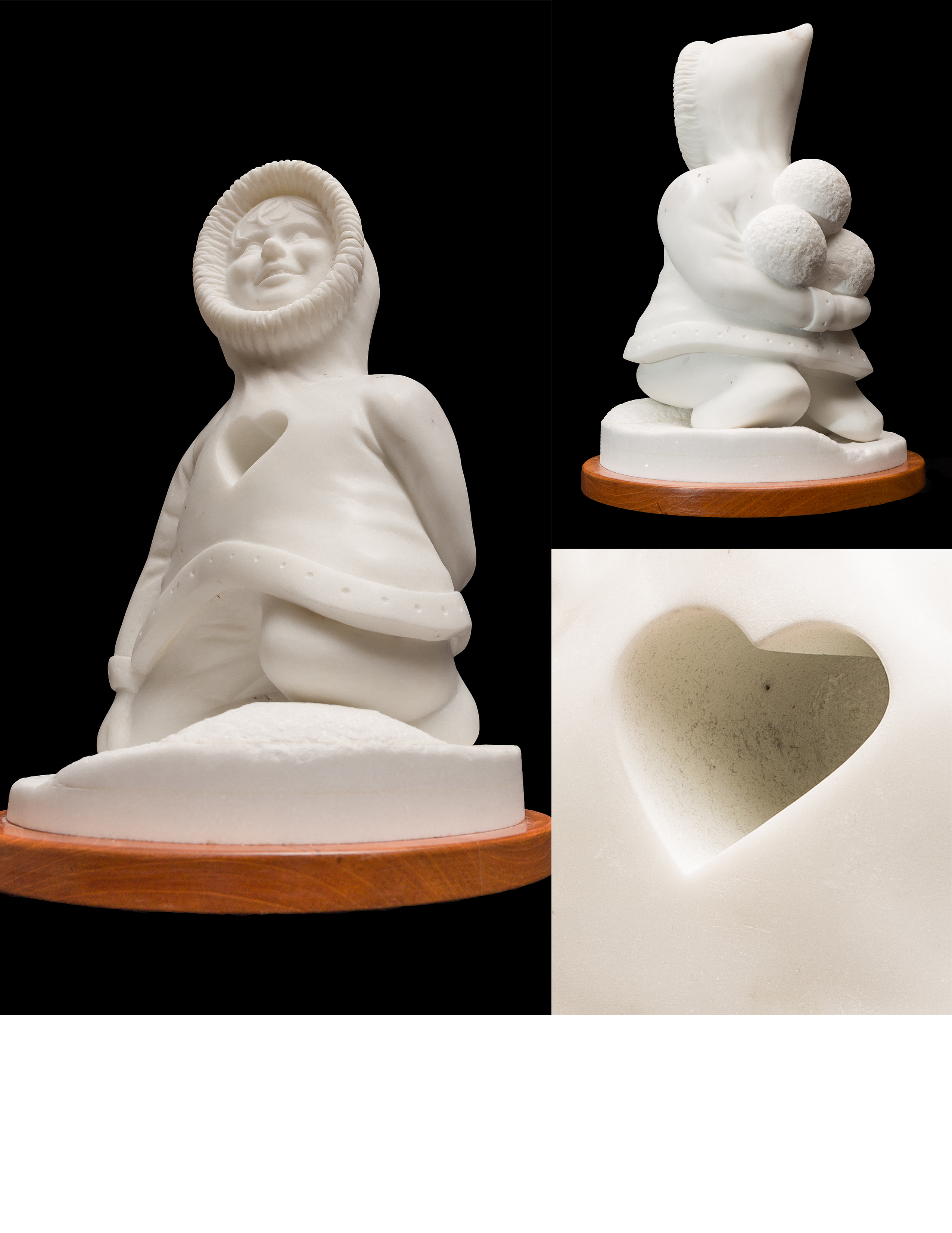"White marble triple image: ""Inner Child"", Italian marble on layered base of white marble and oak, 8"" X 11"" X 8"".  details a portrait of a child playing with snowballs. A drilled heart of 3"" deep in her chest defines the passion at the core of this child, the vulnerability as well as the openness to the world. It represents playful memories as a way to cheer up after a snowstorm."