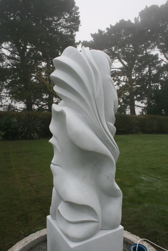 'Armour and Tenderness' 4' High, Carrara Marble, Frederic Chevarin