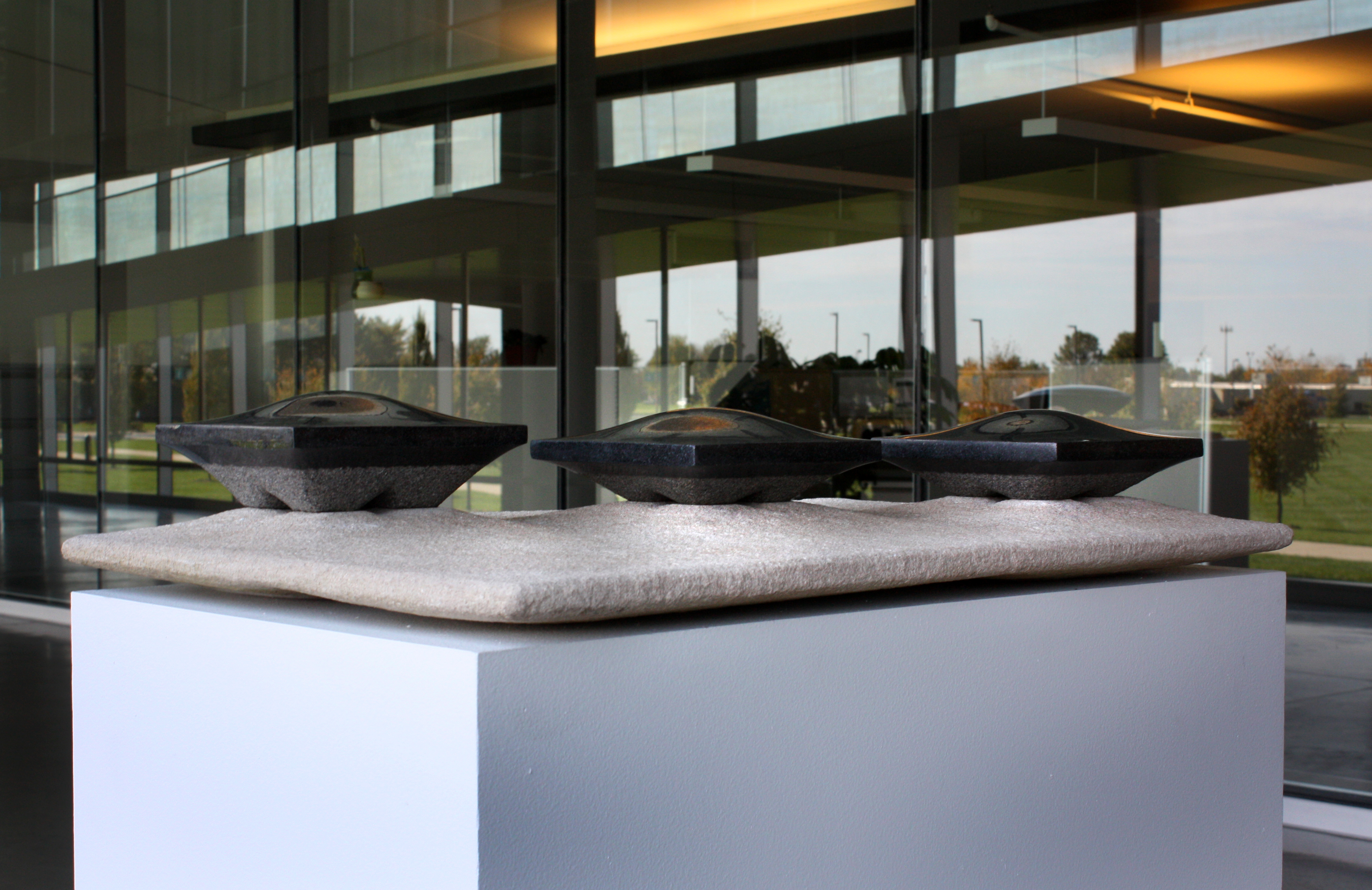 'Lunar Colony van der Rohe'  - 2012 - 17 x 28 x 7 inches - Granite on Indiana Limestone