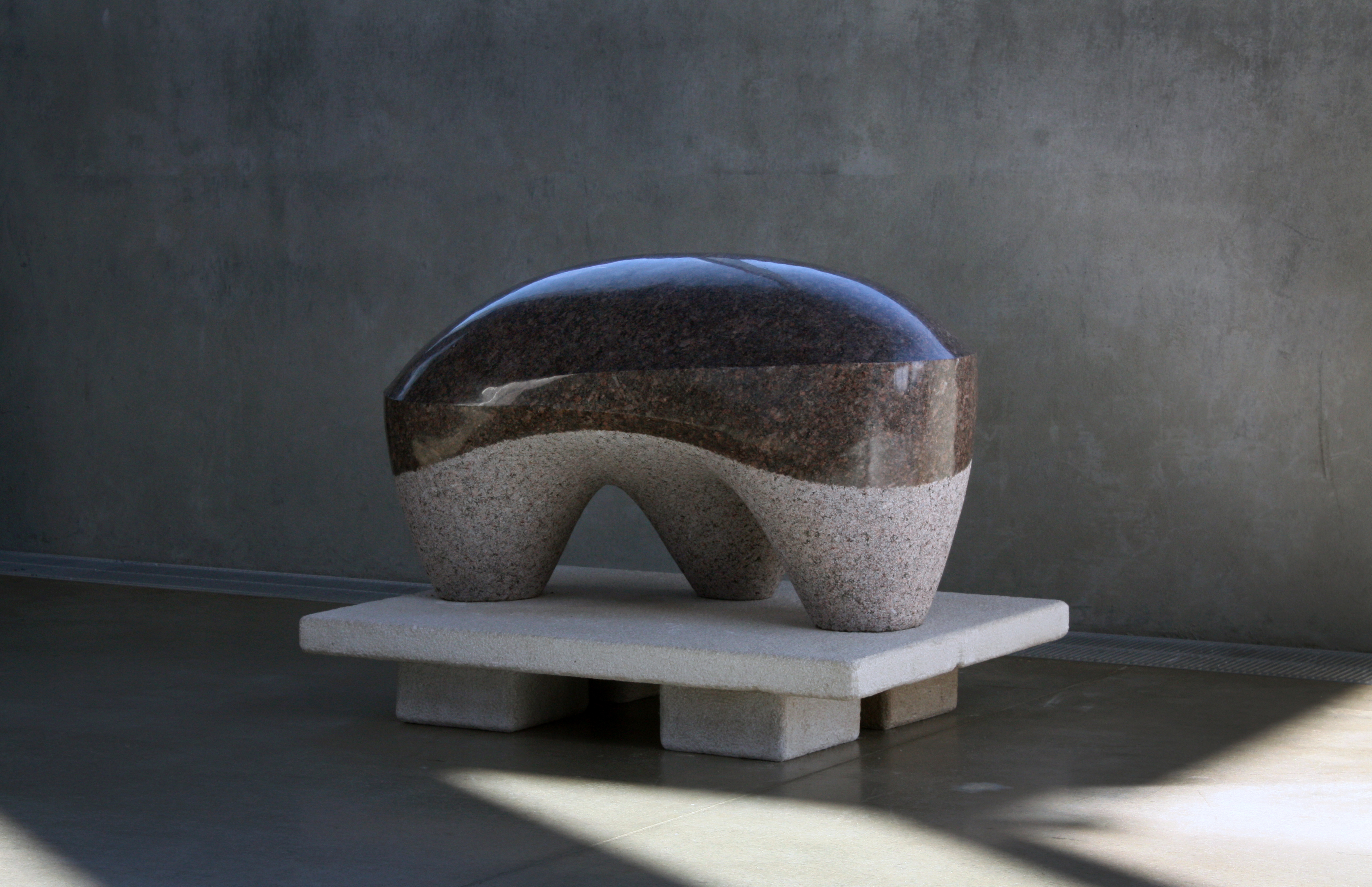 'Untitled Lithomorph'  - 2012 - 36 x 28 x 30 Inches - Granite on Indiana Limestone