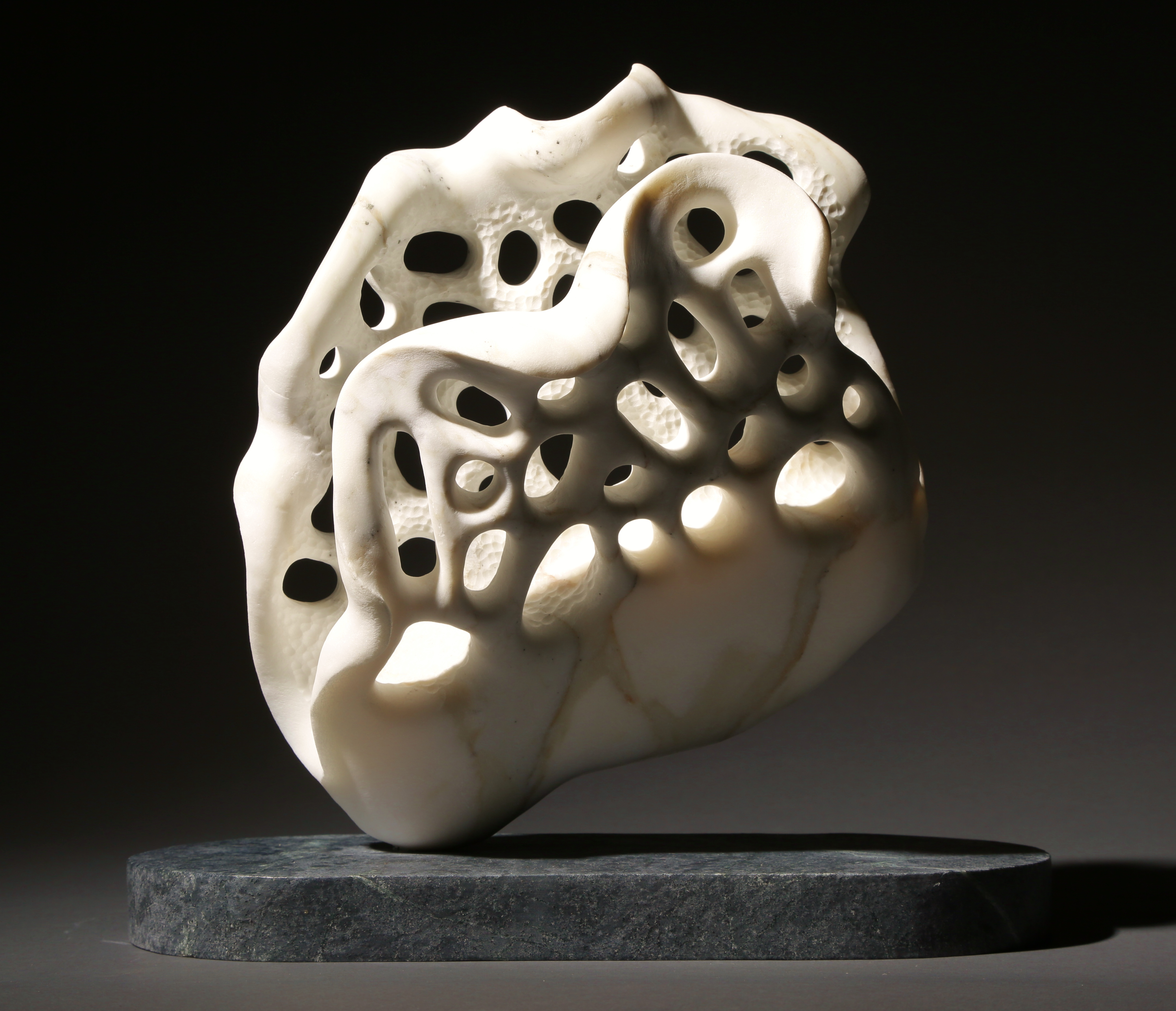 """Coral Lips"", 10 inches high, Calacatta Gold marble, private collection"