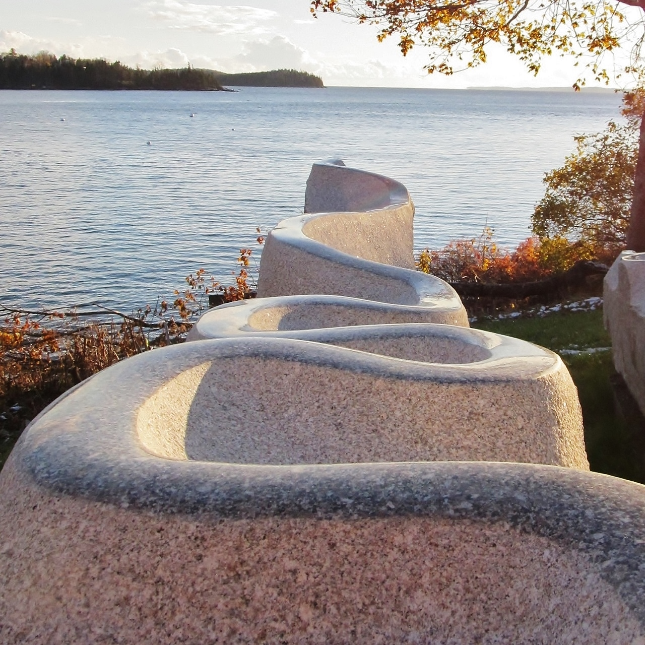 "•	Home and Away, Lavender Gray Maine Granite, 9'-2"" H x 7'-10"" W x 22'-10"" W Bob Leverich"