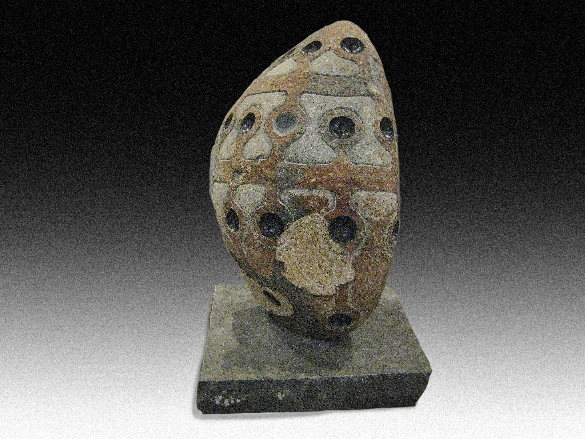 """Primal 2"", igneous river rock, 20"" tall, 2014 This piece lives in Manhattan now. The client didn't even ask for the price. She liked it and just took it whatever the price. I need more clients like her…"