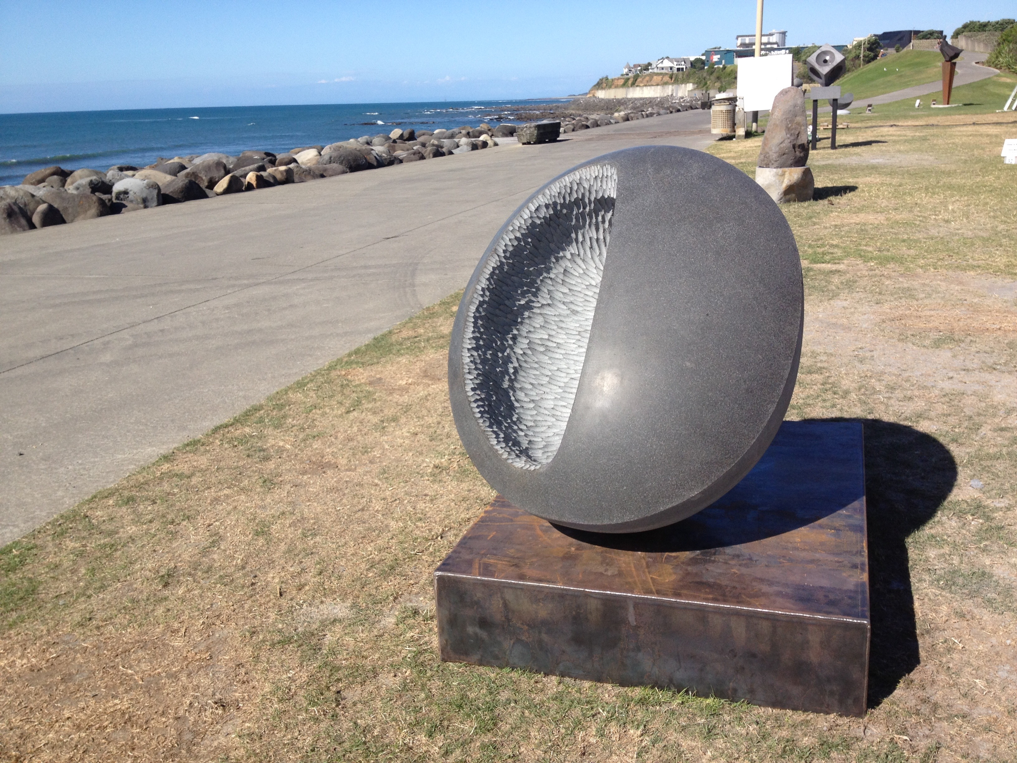 'anoia' - carved at the Te Kupenga stone sculpture symposium in New Plymouth, New Zealand, January 2016.