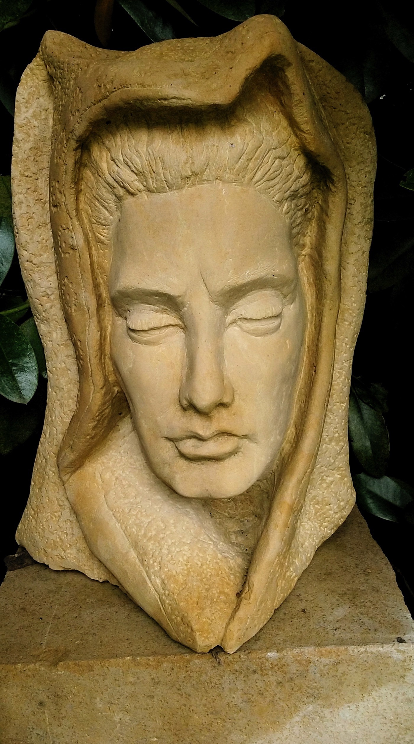 """Mother Spirit"", limestone, 2013, 9"" X 16"" X 8""     She also watches over the garden."