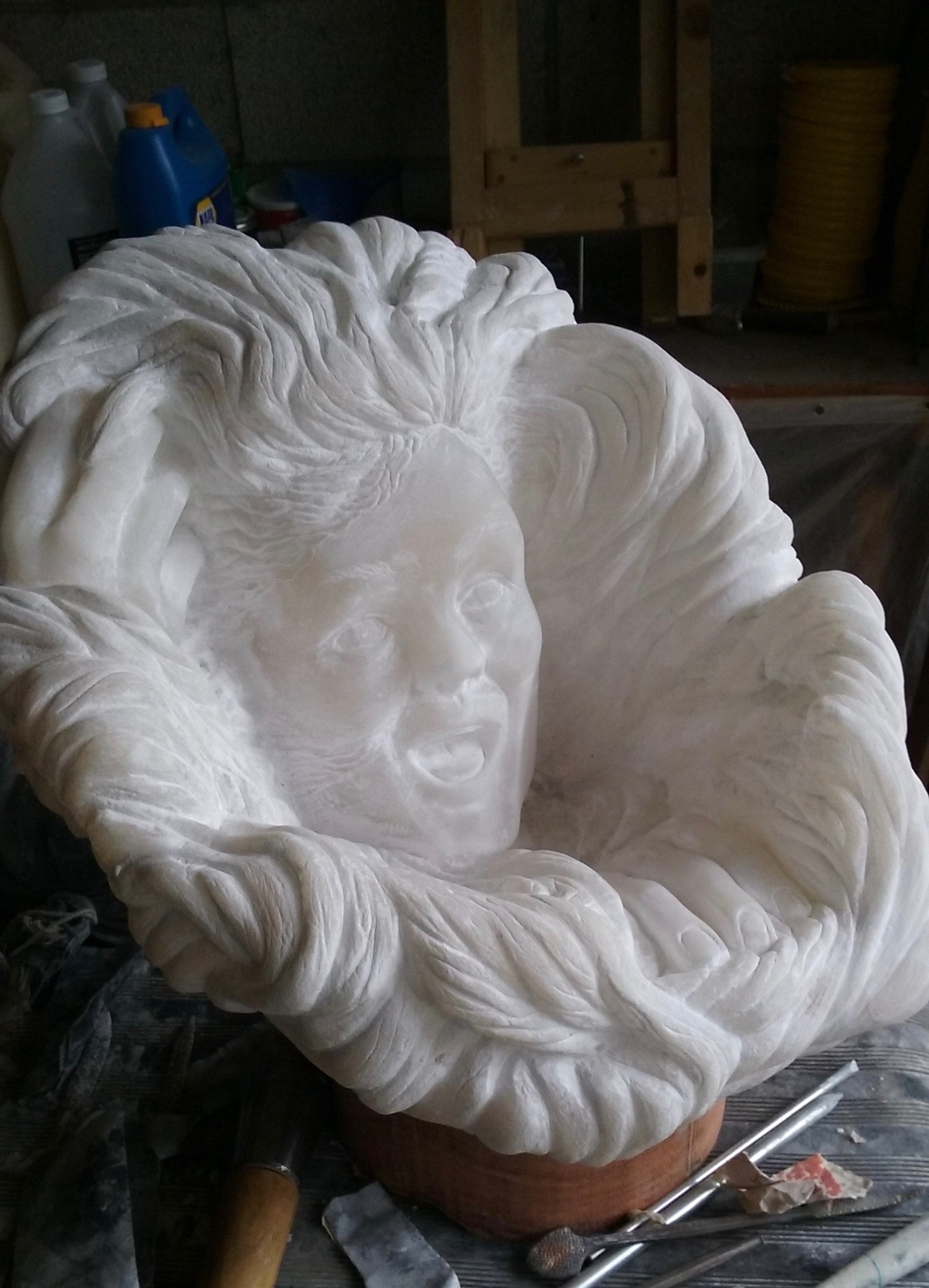 """Laughing Wind"", alabaster, 18"" X 14"" X 16"""