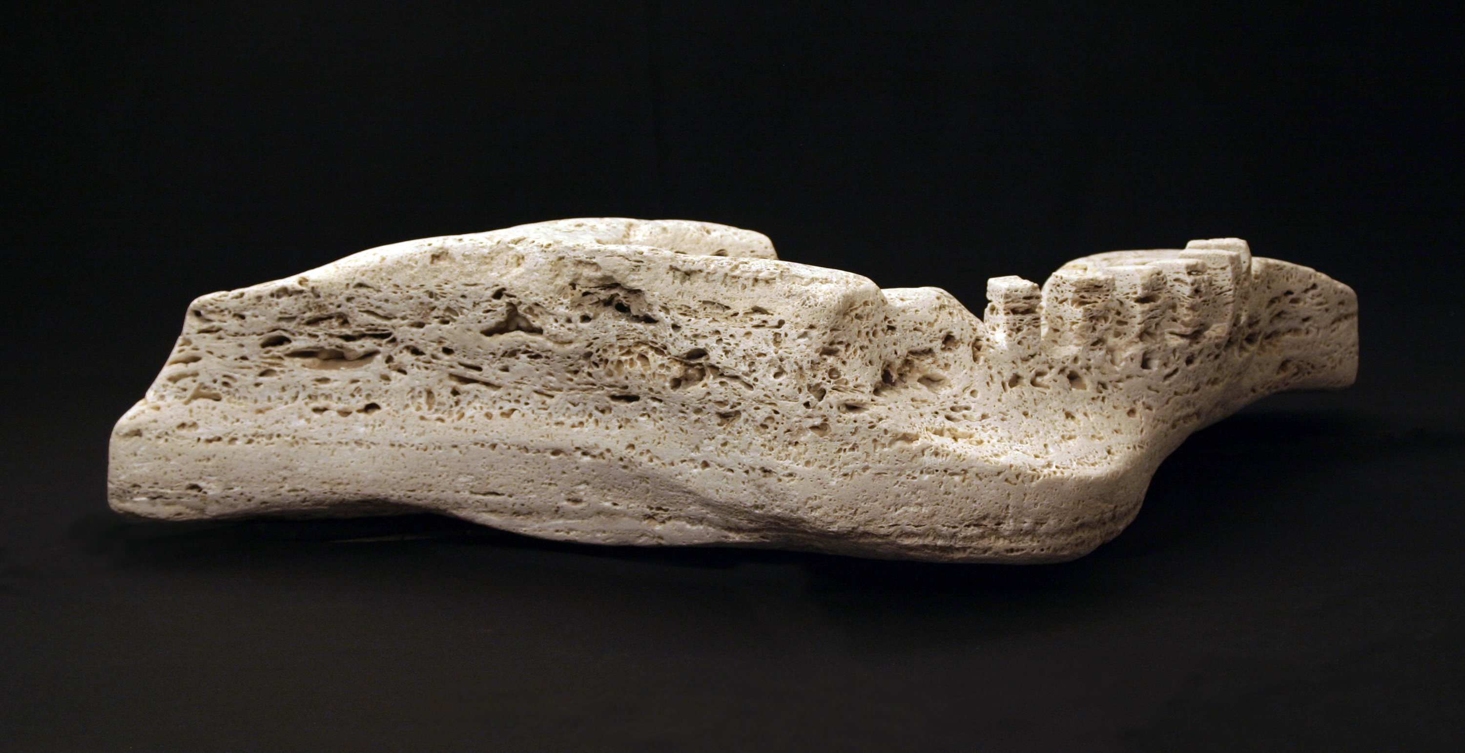 """Coelacanth"", tufa, 2012, 52"" X 20"" X 12"" by Oliver Harwood"