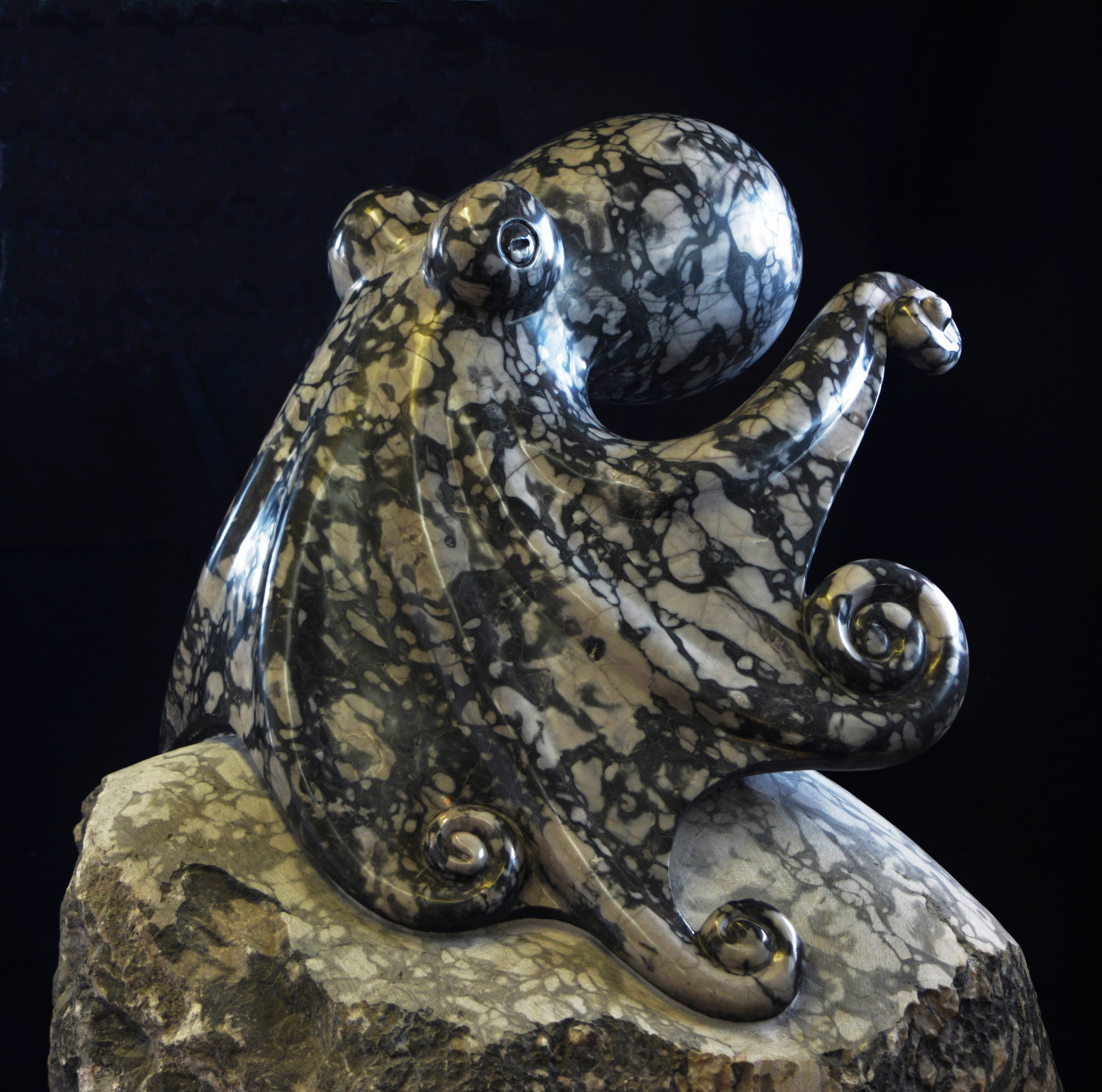 OCTOPUS ESCAPE BC marble 2 feet tall 2017 by Daniel Cline
