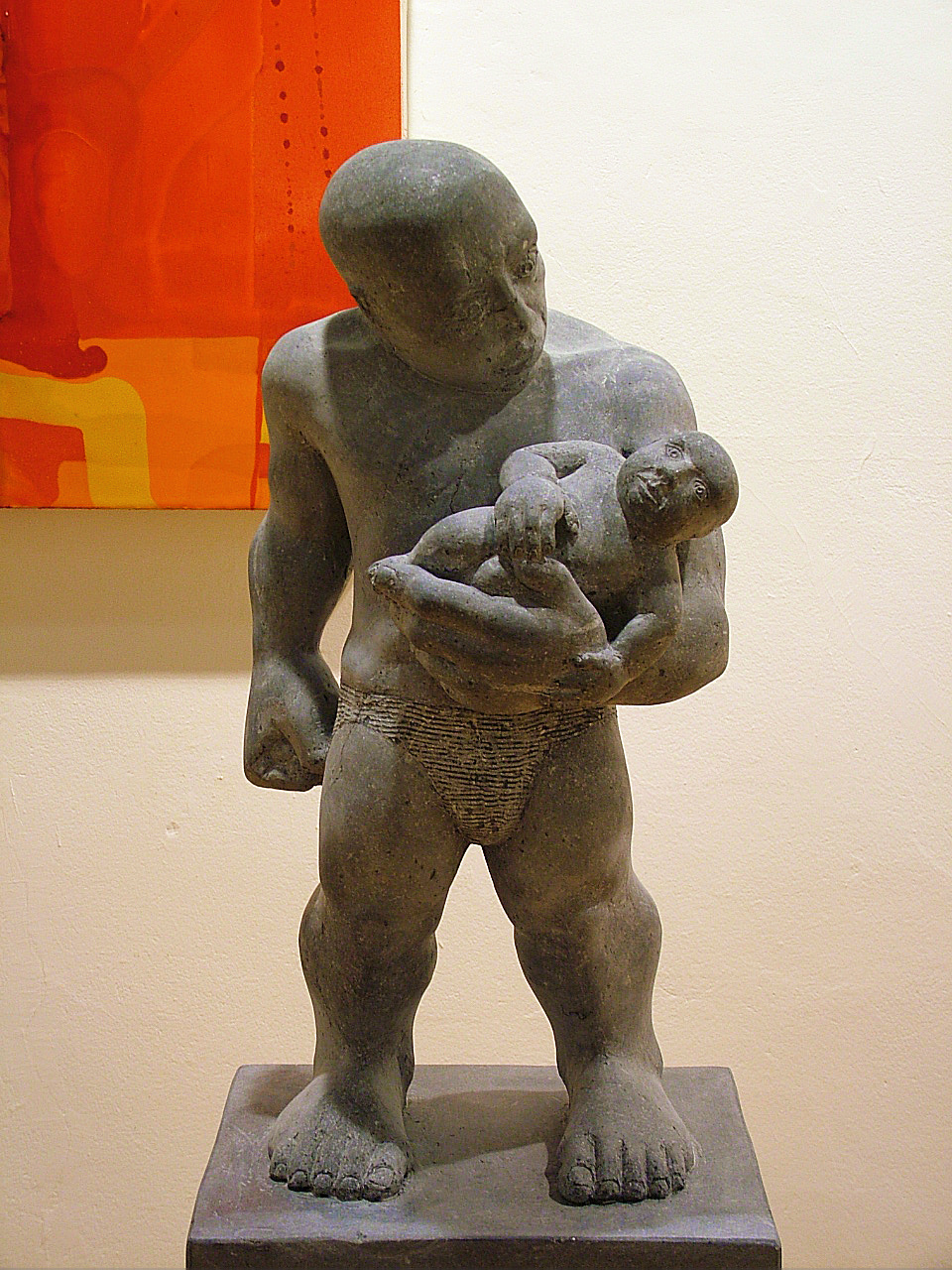"James Horan ""Little Miracle"" 2006 irish limestone father and child 26inch h 1"