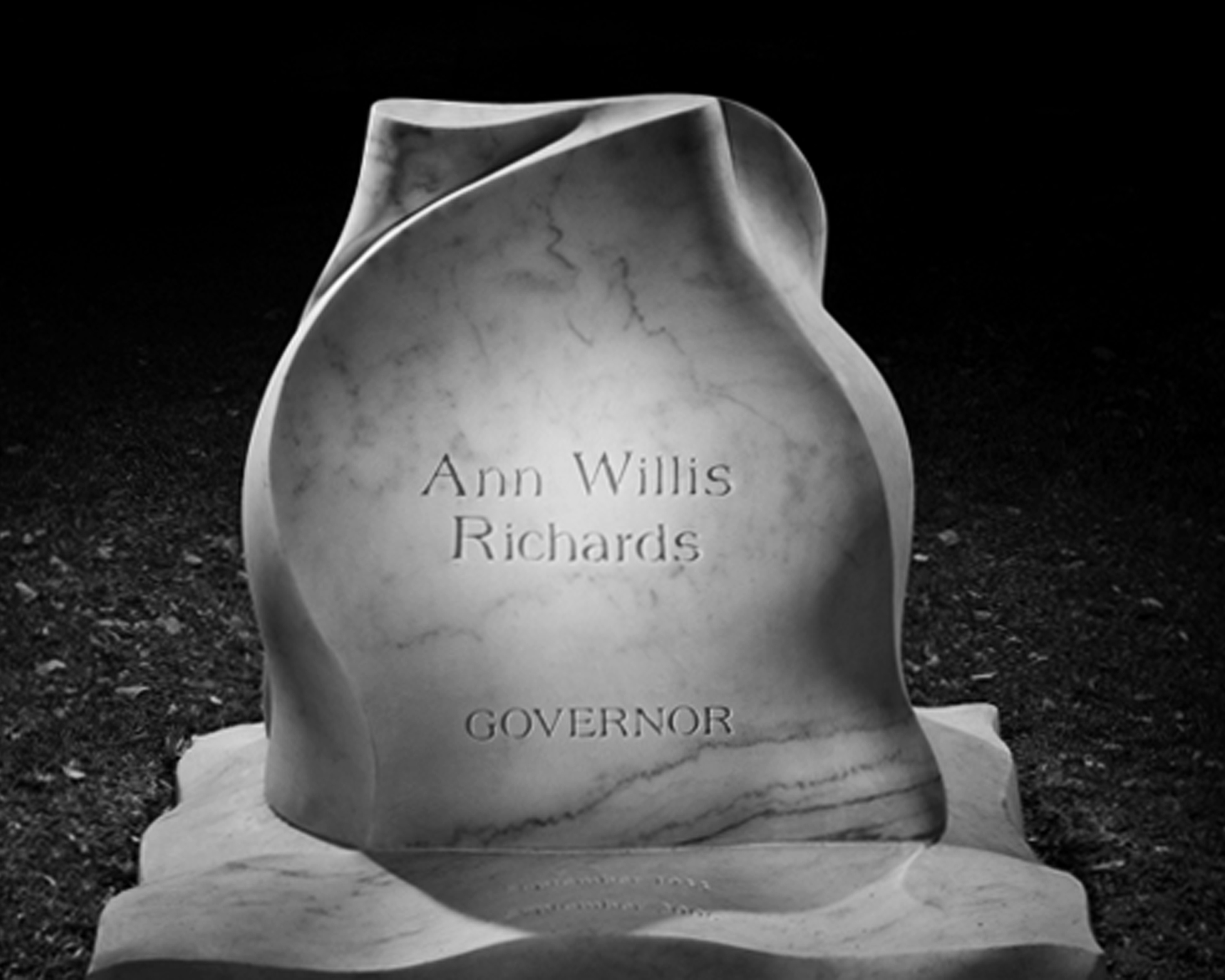 Marble monument for Governor Ann Richards, 2008, Austin TX - Photo: Jeff Wilson