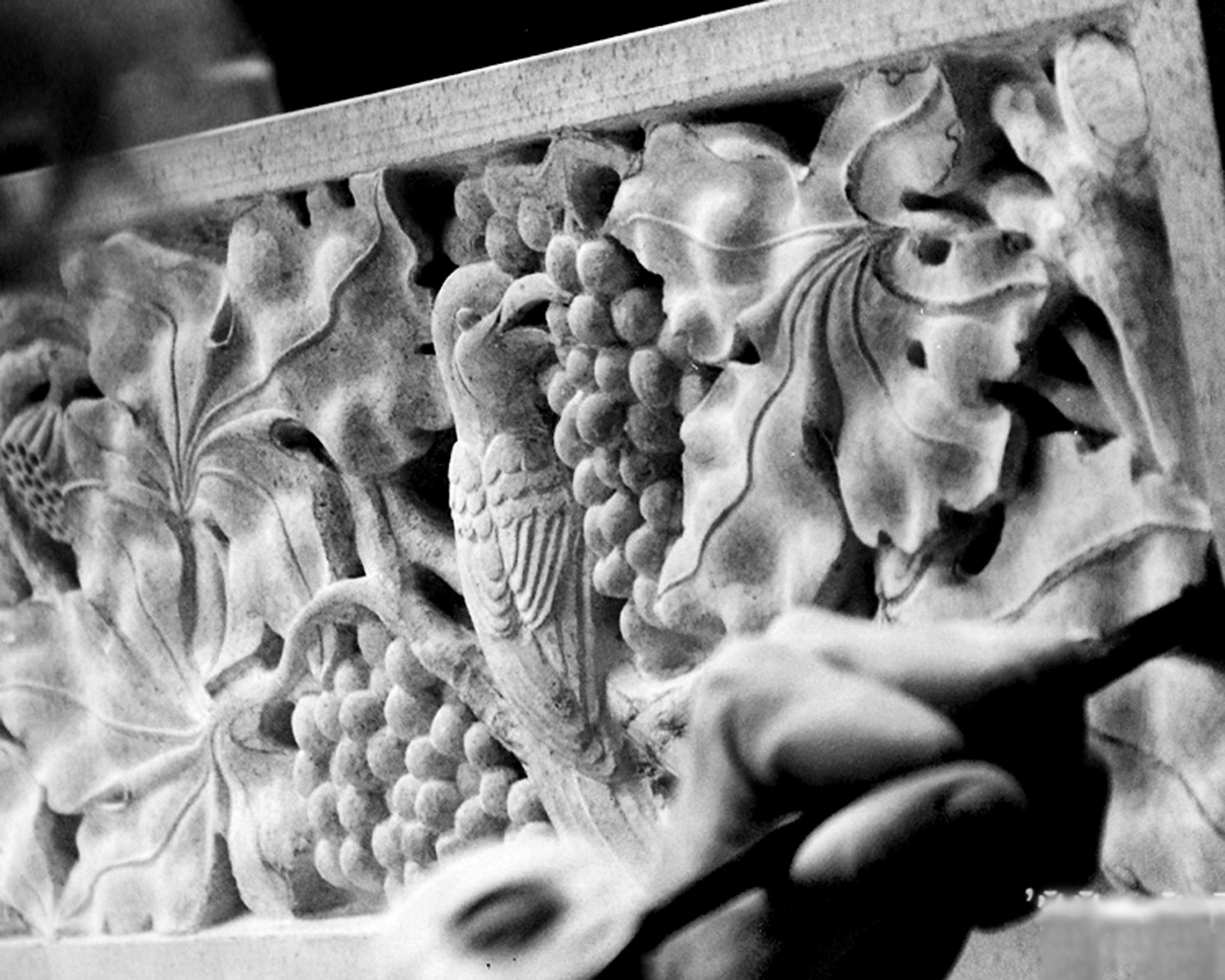 6)	Detail of fauna and flora on a limestone fireplace mantle, 2010, Austin TX- Photo: Holly Kincannon