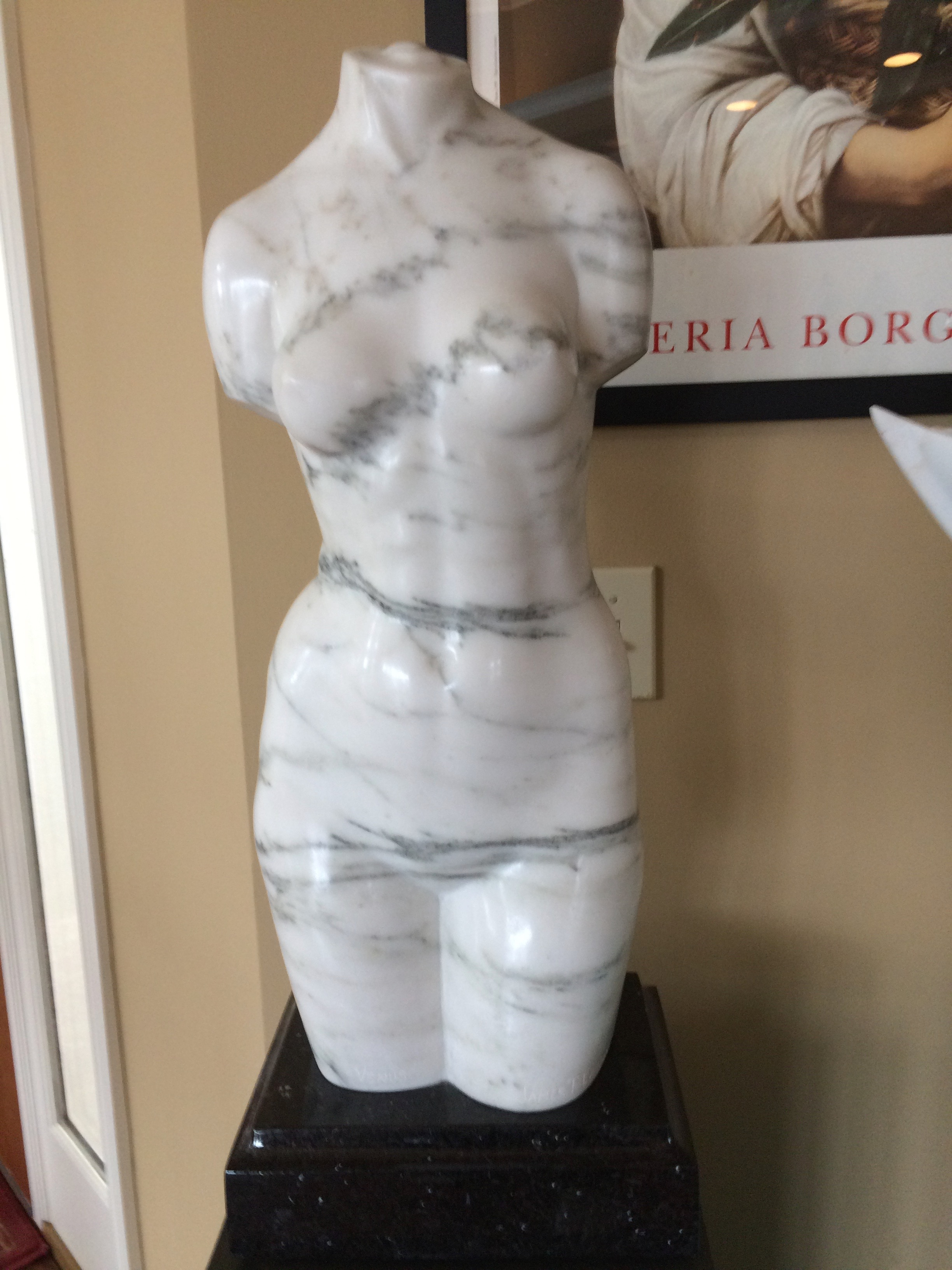 """Venus"", maybe Indiana marble, 20"" tall."