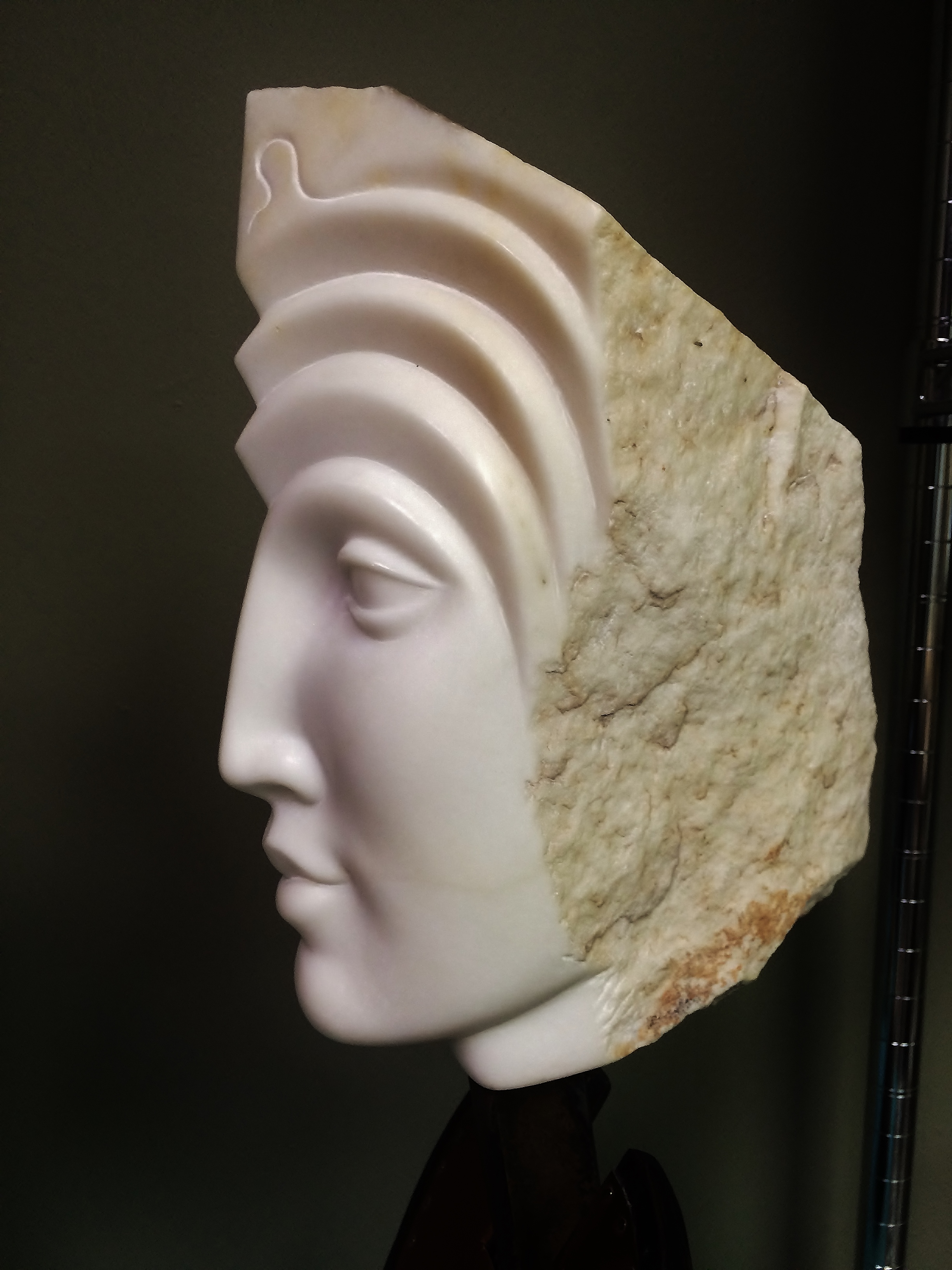 """Ancient woman"", Carrara marble on steel and wood base, 20"" high."