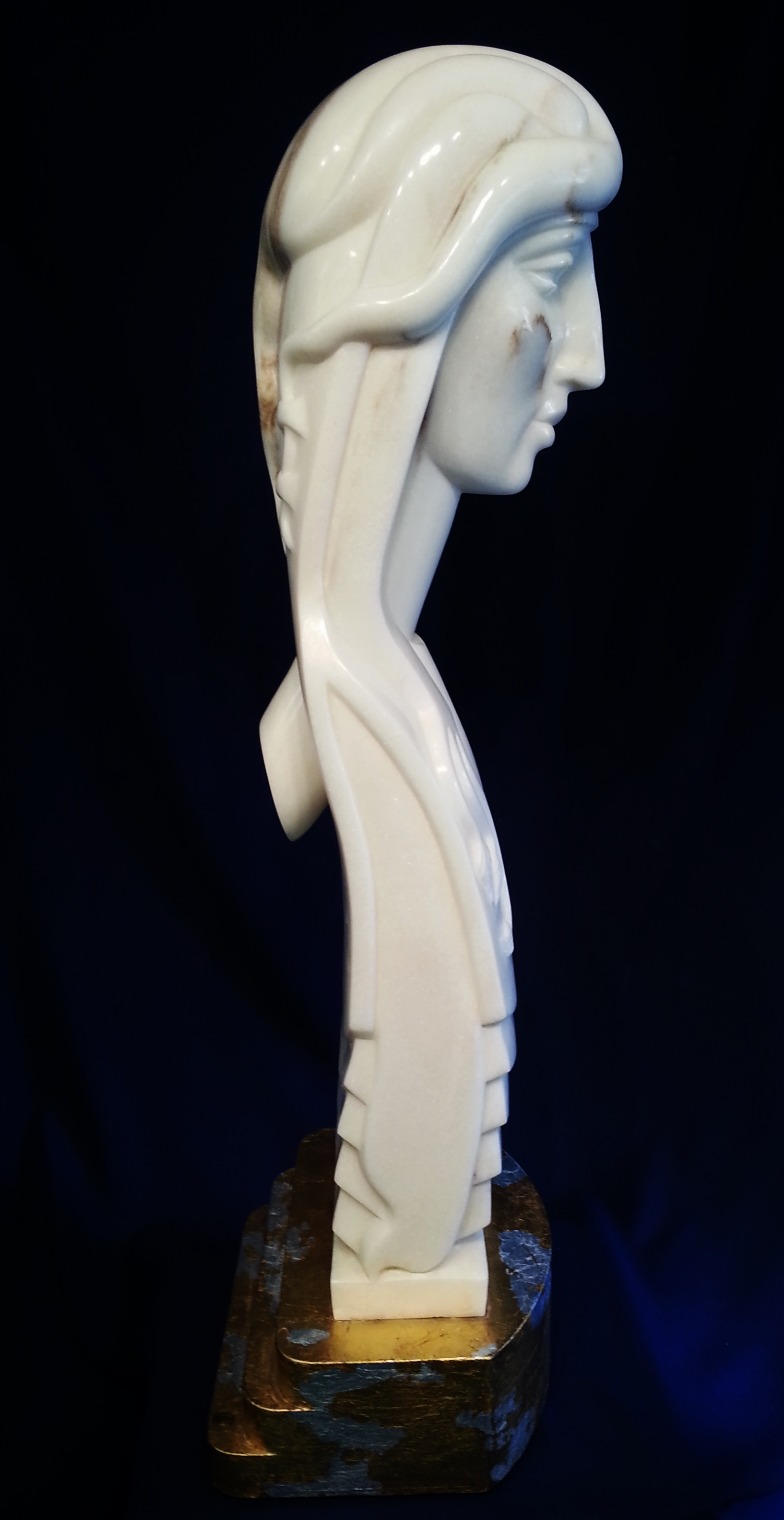"""Mary Magdalene"", Portuguese Marble on Wood Base with gold and silver leaf, 37"" tall."