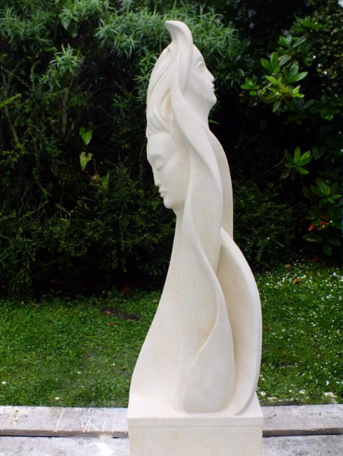 "'Reflection', Shaugn Briggs, 59"" high, Oamaru Stone"