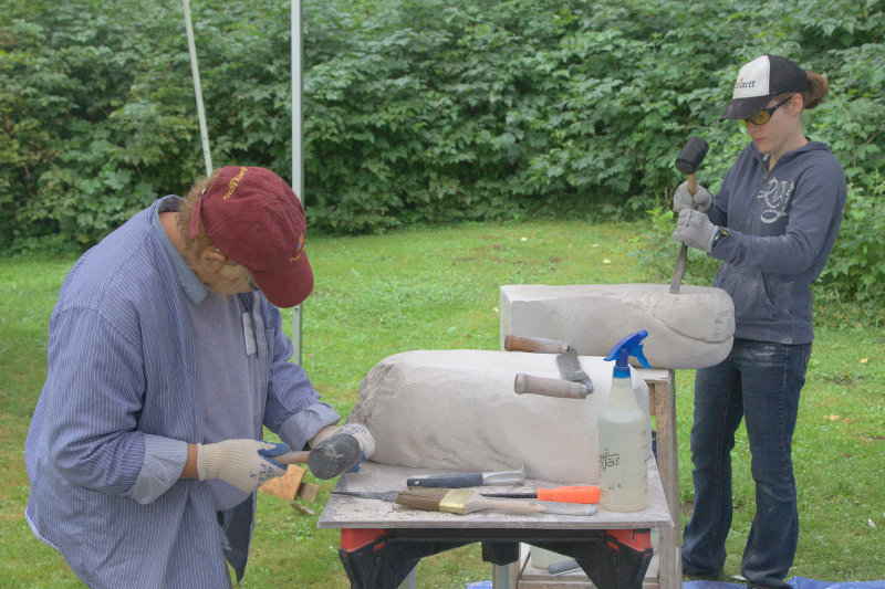 Shannon Willis and Roberta Gunnell cutting their first sculptures in Aerated Cement (AAC).